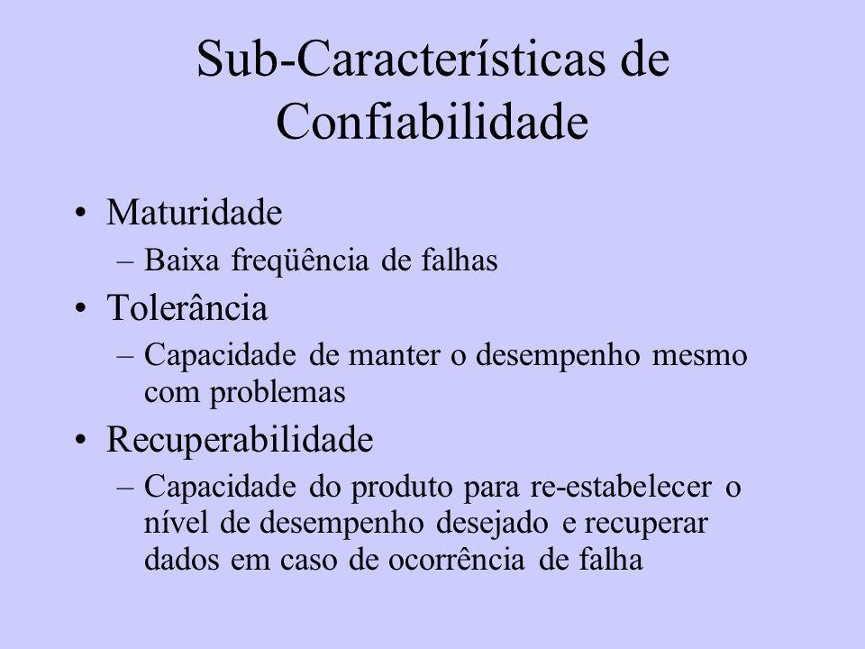 Sub-Características de Confiabilidade