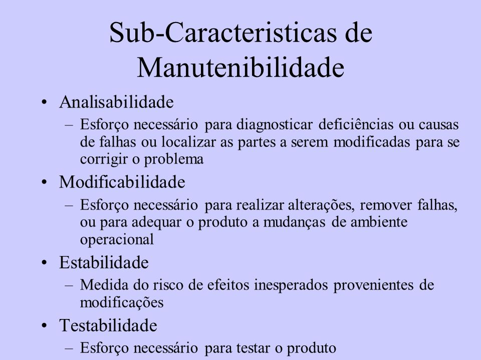 Sub-Caracteristicas de Manutenibilidade