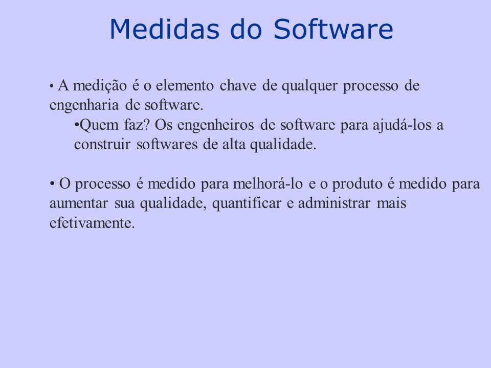 Medidas do Software A medição é o elemento chave de qualquer processo de engenharia de software.