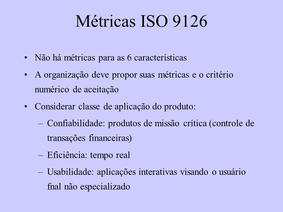 Métricas ISO 9126 Não há métricas para as 6 características