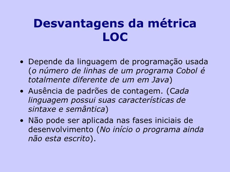 Desvantagens da métrica LOC