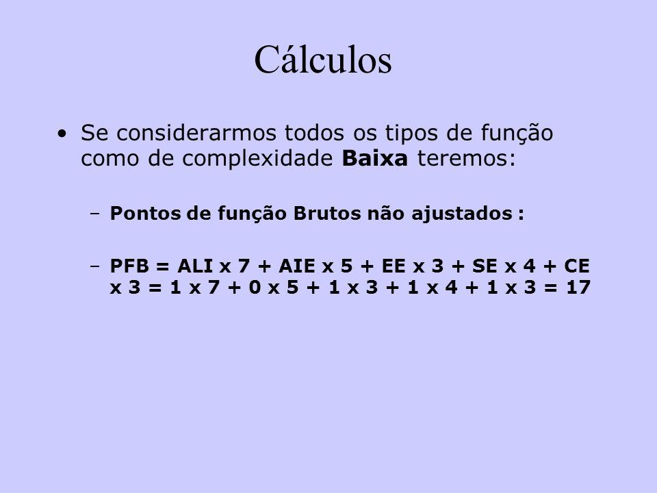 Cálculos Se considerarmos todos os tipos de função como de complexidade Baixa teremos: Pontos de função Brutos não ajustados :