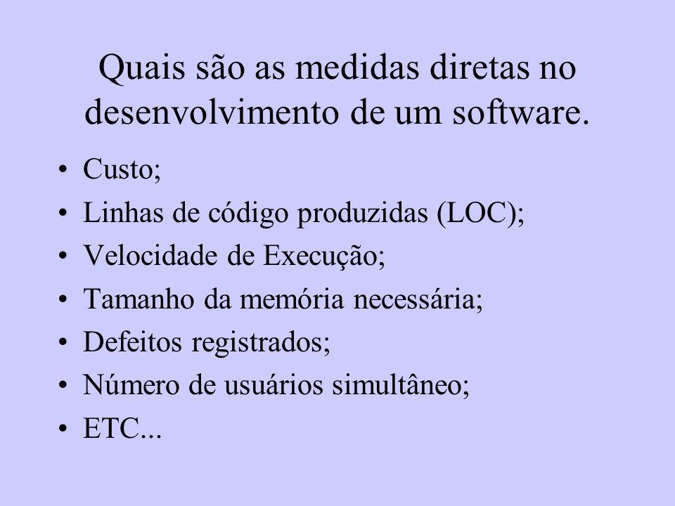 Quais são as medidas diretas no desenvolvimento de um software.