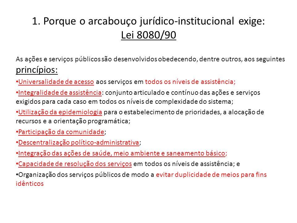 1. Porque o arcabouço jurídico-institucional exige: Lei 8080/90