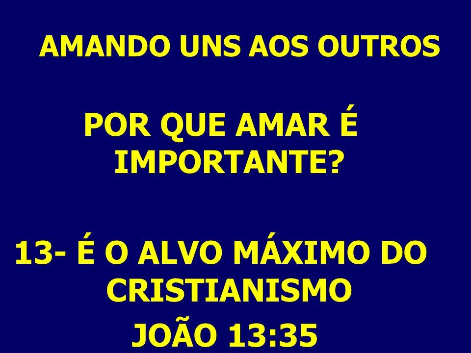 POR QUE AMAR É IMPORTANTE 13- É O ALVO MÁXIMO DO CRISTIANISMO