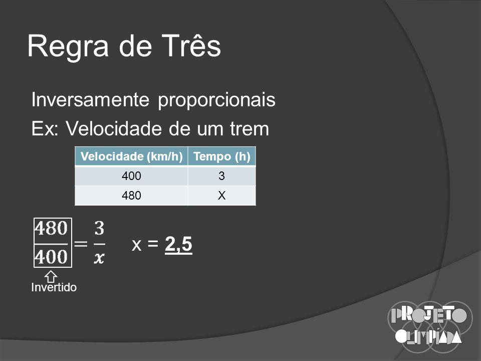 Regra de Três Inversamente proporcionais Ex: Velocidade de um trem x = 2,5 Velocidade (km/h) Tempo (h)