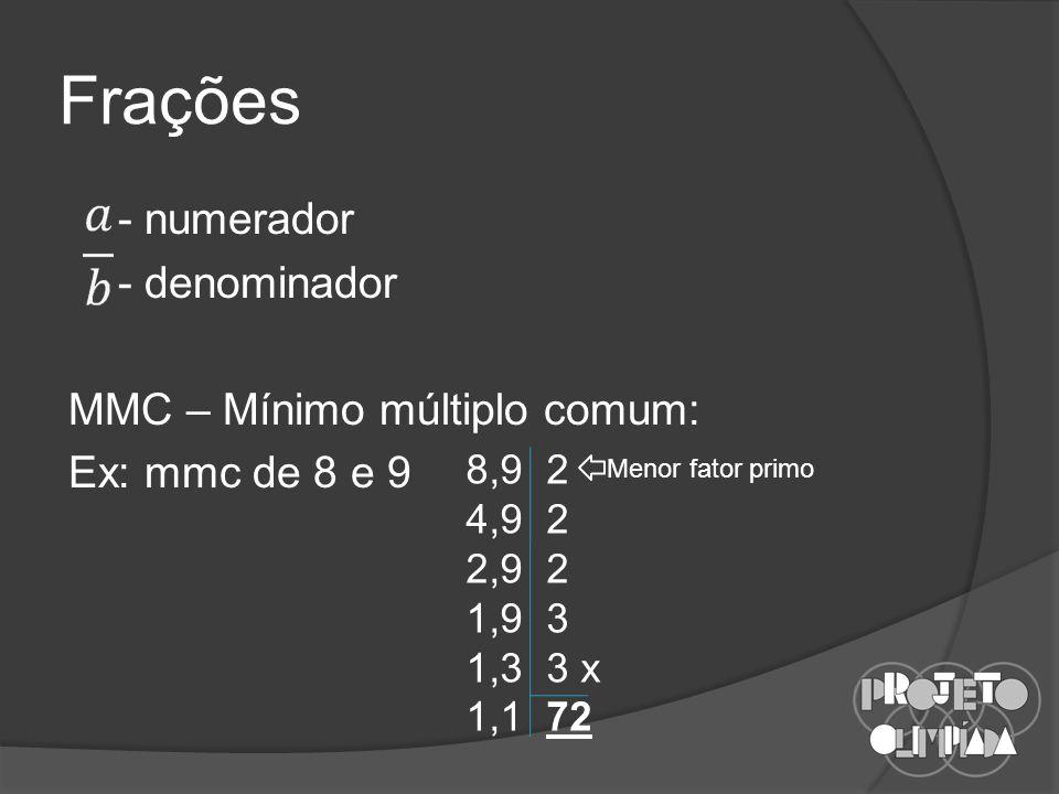 Frações - numerador - denominador MMC – Mínimo múltiplo comum: Ex: mmc de 8 e 9 8,9 2. 4,9 2. 2,9 2.