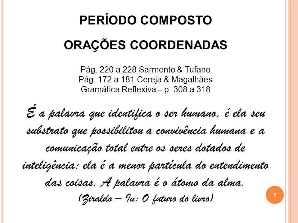 PERÍODO COMPOSTO ORAÇÕES COORDENADAS. Pág. 220 a 228 Sarmento & Tufano. Pág. 172 a 181 Cereja & Magalhães.