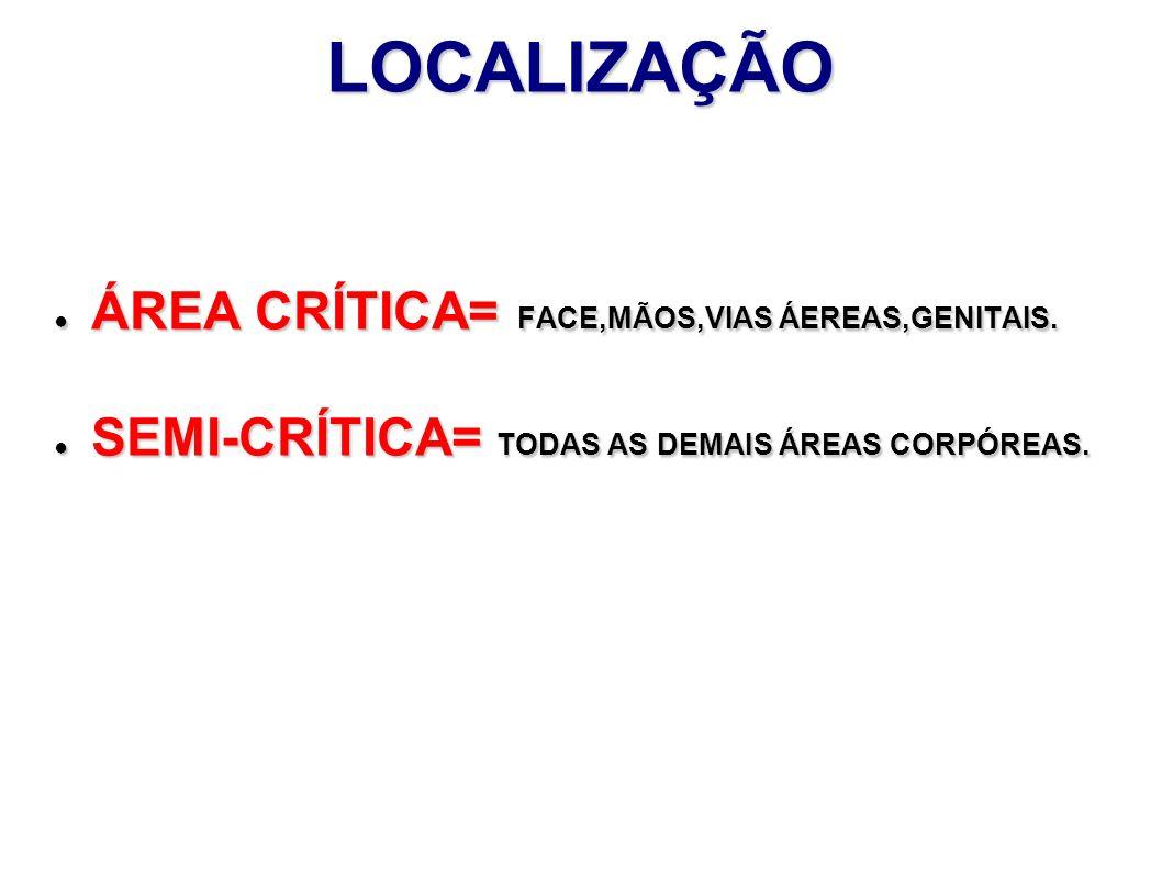 LOCALIZAÇÃO ÁREA CRÍTICA= FACE,MÃOS,VIAS ÁEREAS,GENITAIS.