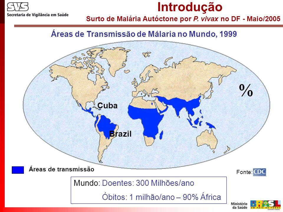 Áreas de Transmissão de Málaria no Mundo, 1999