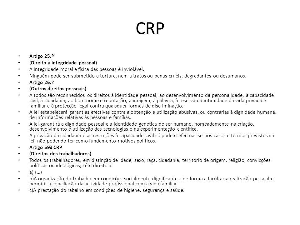CRP Artigo 25.º (Direito à integridade pessoal)