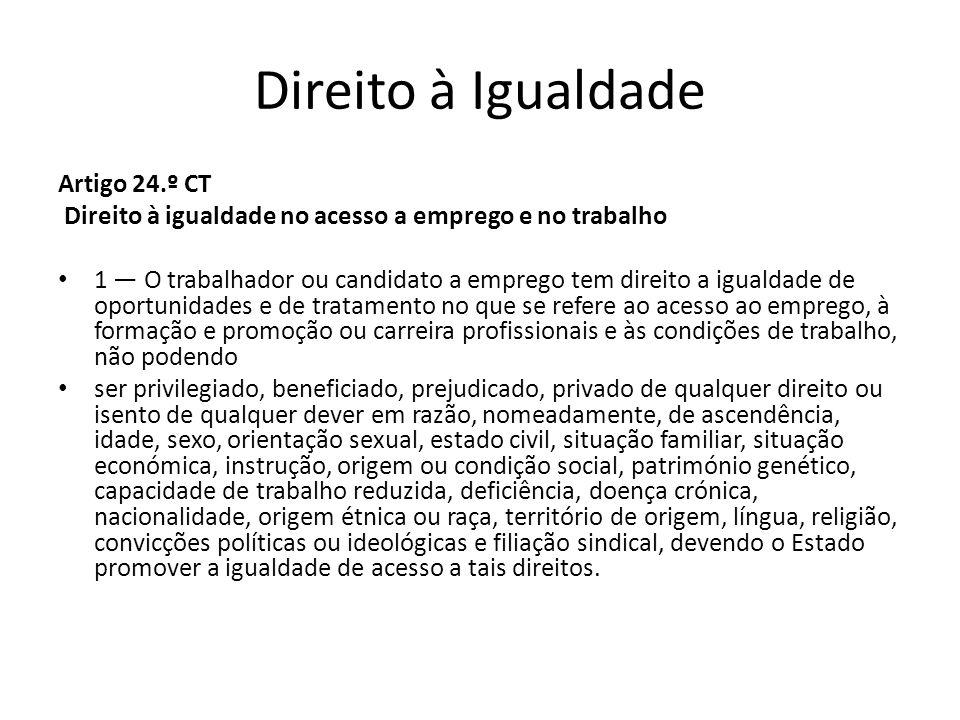 Direito à Igualdade Artigo 24.º CT