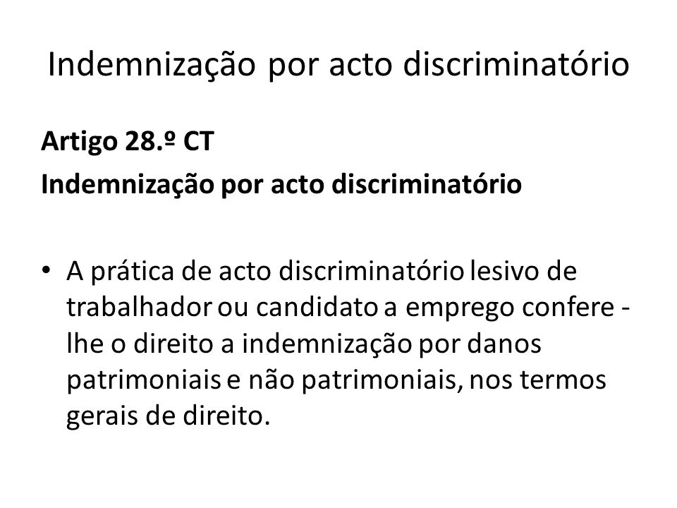 Indemnização por acto discriminatório