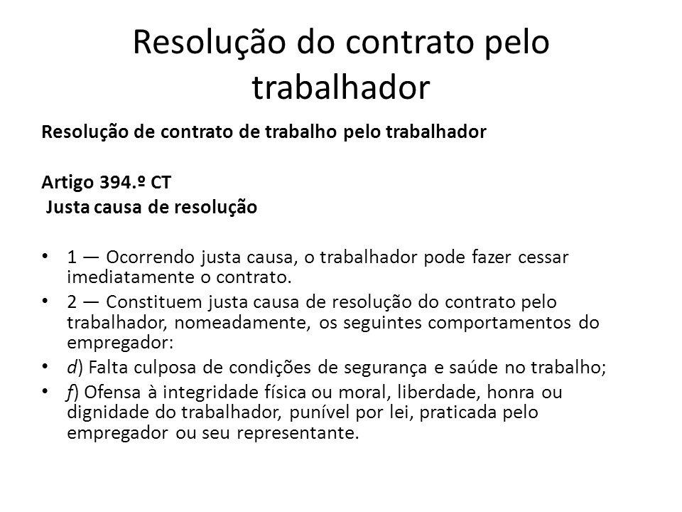 Resolução do contrato pelo trabalhador