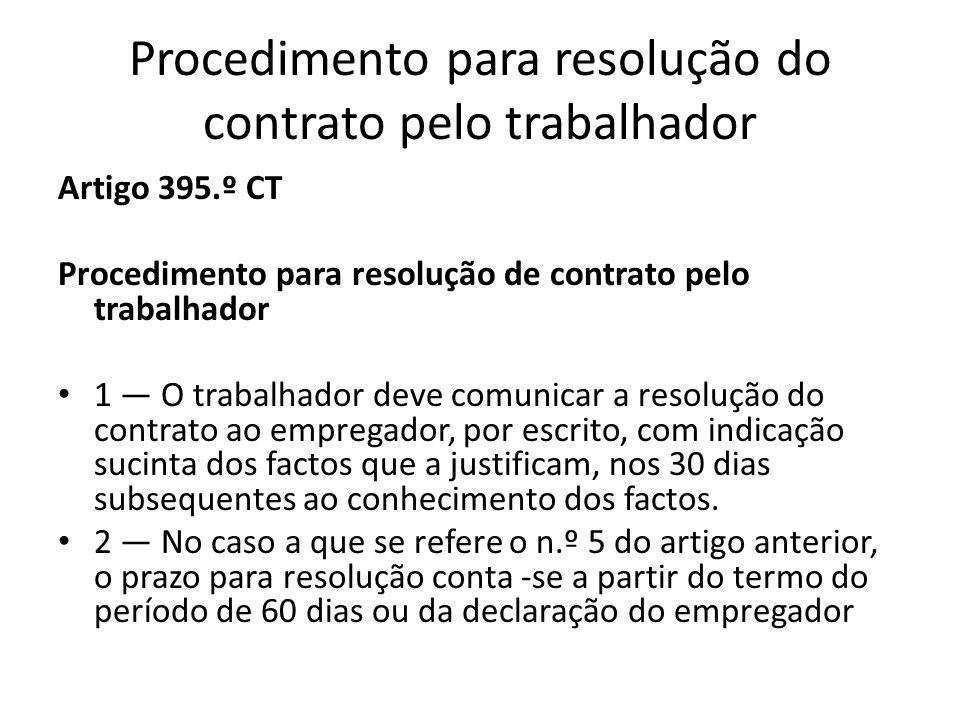 Procedimento para resolução do contrato pelo trabalhador