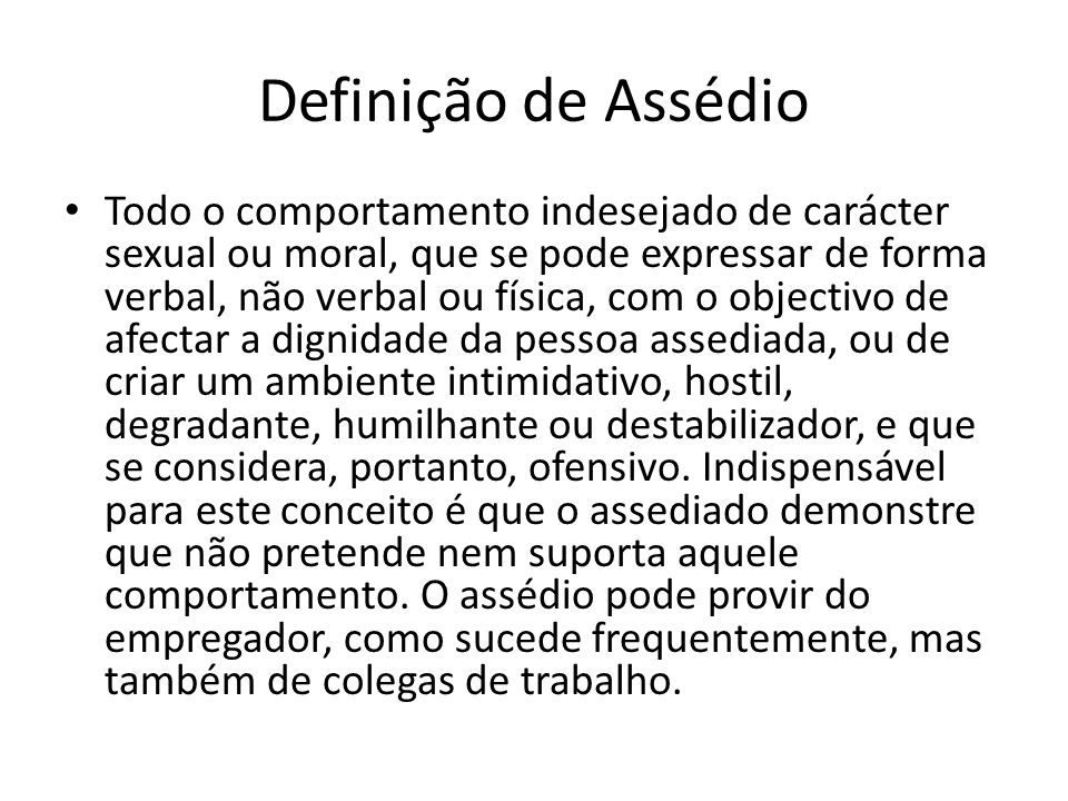 Definição de Assédio