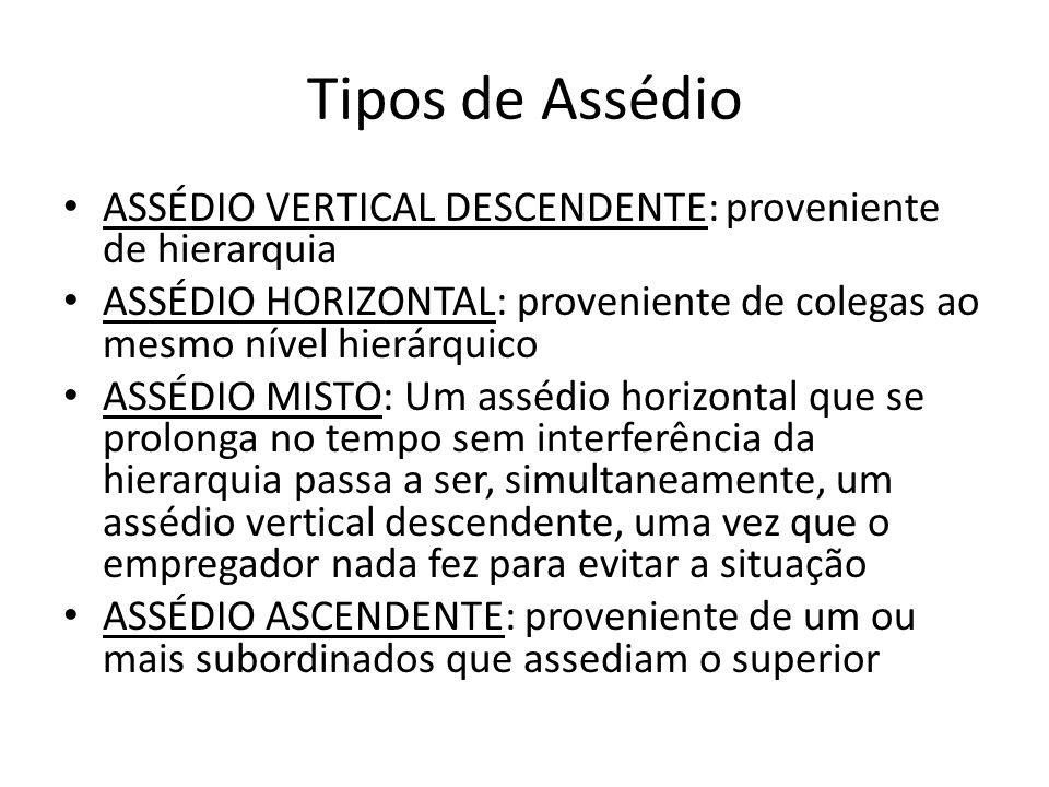Tipos de Assédio ASSÉDIO VERTICAL DESCENDENTE: proveniente de hierarquia. ASSÉDIO HORIZONTAL: proveniente de colegas ao mesmo nível hierárquico.