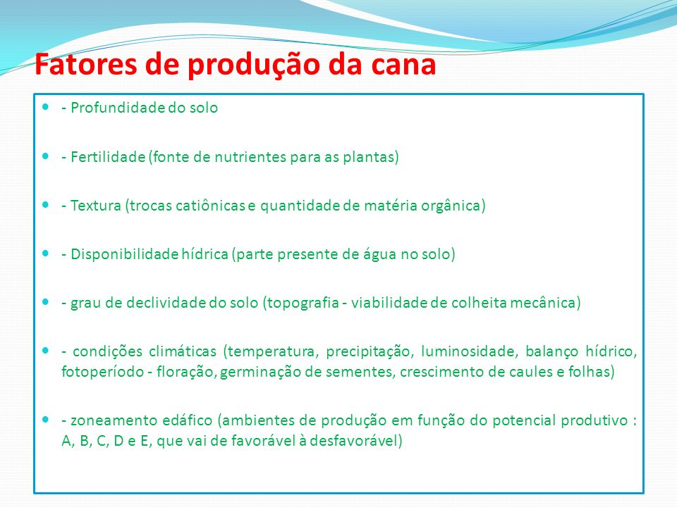 Fatores de produção da cana