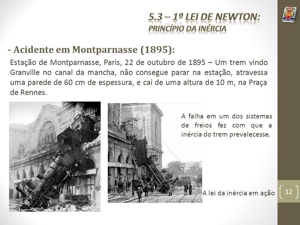 5.3 – 1ª Lei de Newton: - Acidente em Montparnasse (1895):