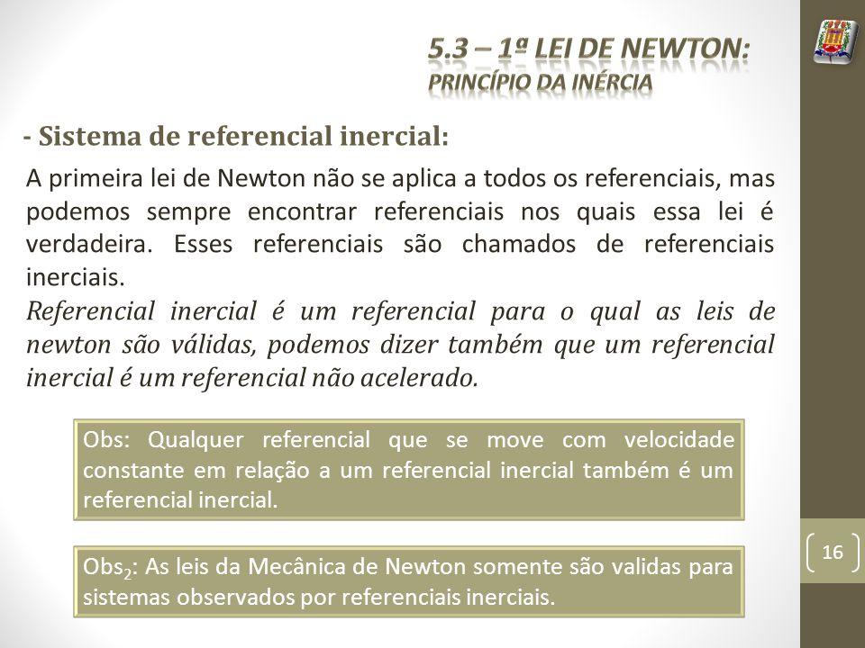 5.3 – 1ª Lei de Newton: - Sistema de referencial inercial: