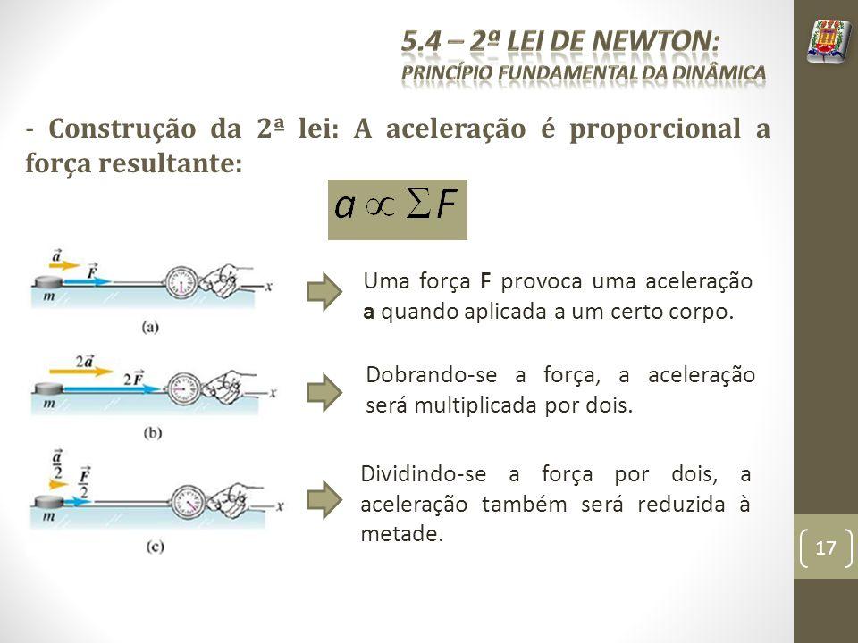 5.4 – 2ª Lei de Newton: Princípio fundamental da dinâmica. - Construção da 2ª lei: A aceleração é proporcional a força resultante: