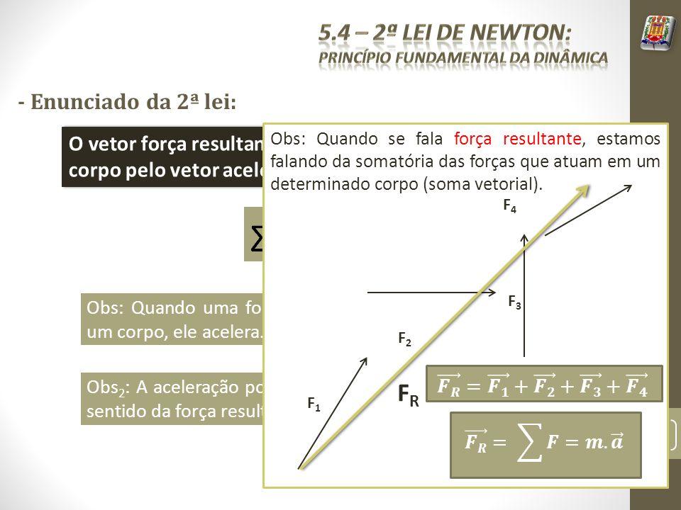 FR 5.4 – 2ª Lei de Newton: - Enunciado da 2ª lei: