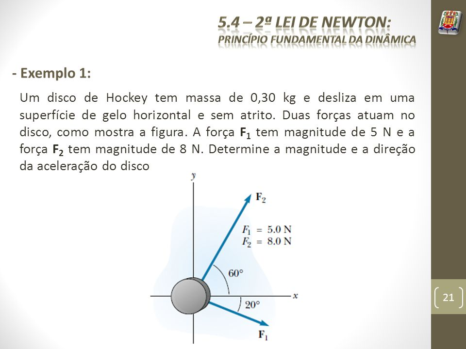 5.4 – 2ª Lei de Newton: - Exemplo 1: