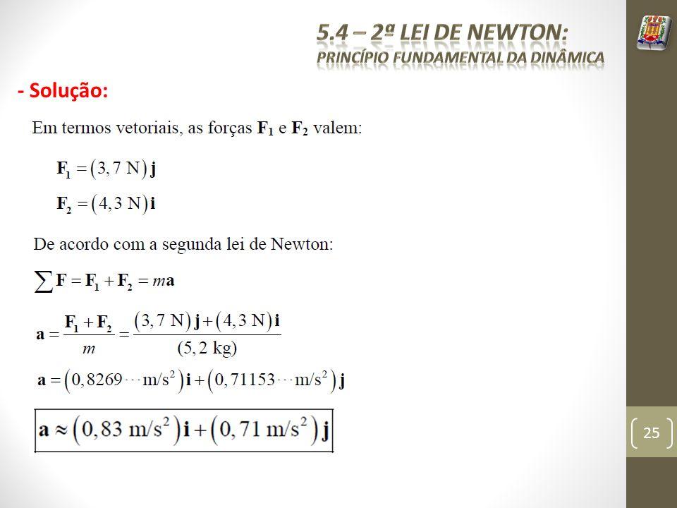 5.4 – 2ª Lei de Newton: Princípio fundamental da dinâmica - Solução: