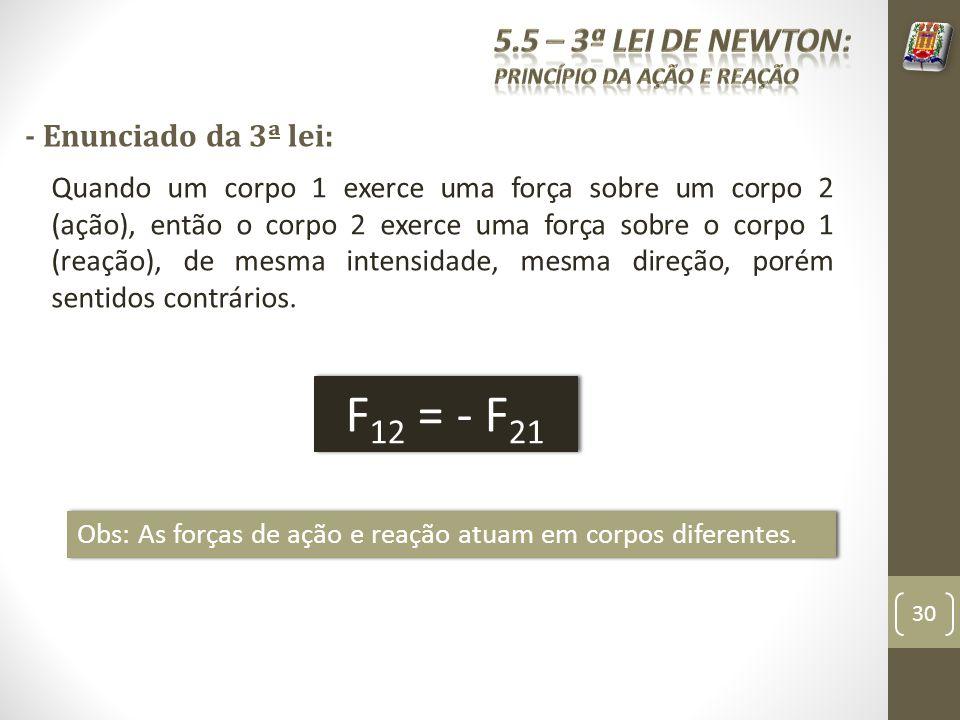 F12 = - F21 5.5 – 3ª Lei de Newton: - Enunciado da 3ª lei: