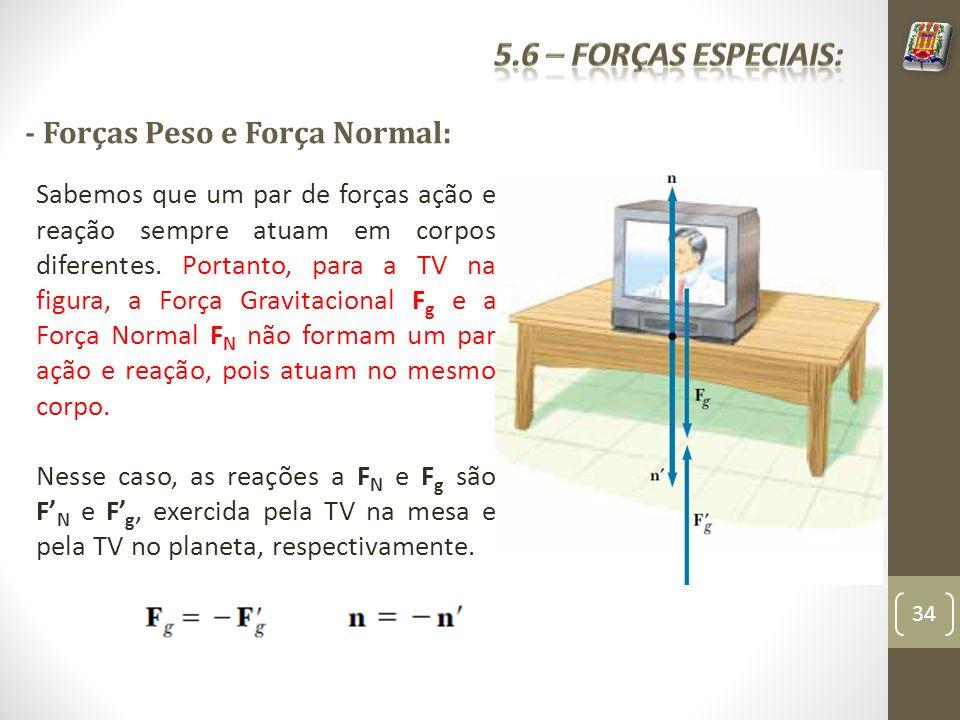 5.6 – Forças especiais: - Forças Peso e Força Normal: