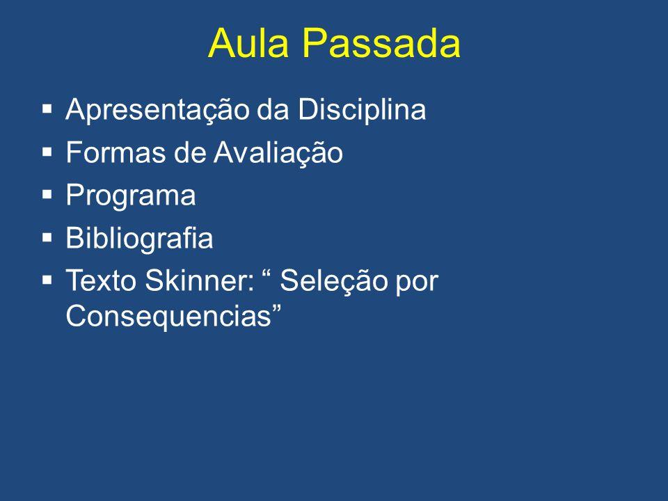 Aula Passada Apresentação da Disciplina Formas de Avaliação Programa