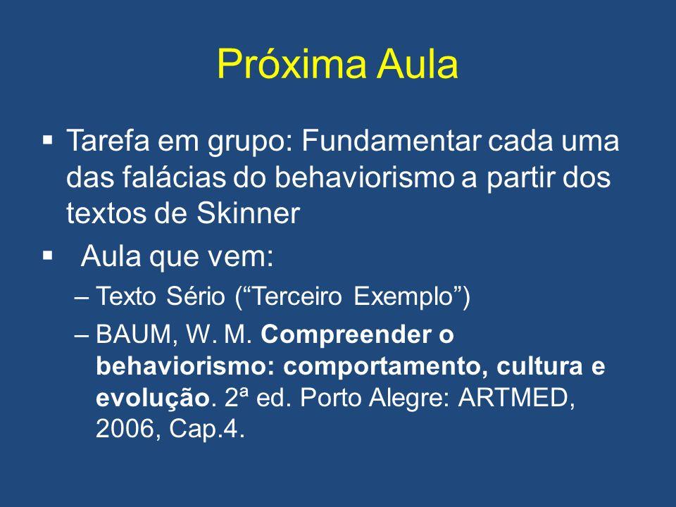 Próxima Aula Tarefa em grupo: Fundamentar cada uma das falácias do behaviorismo a partir dos textos de Skinner.