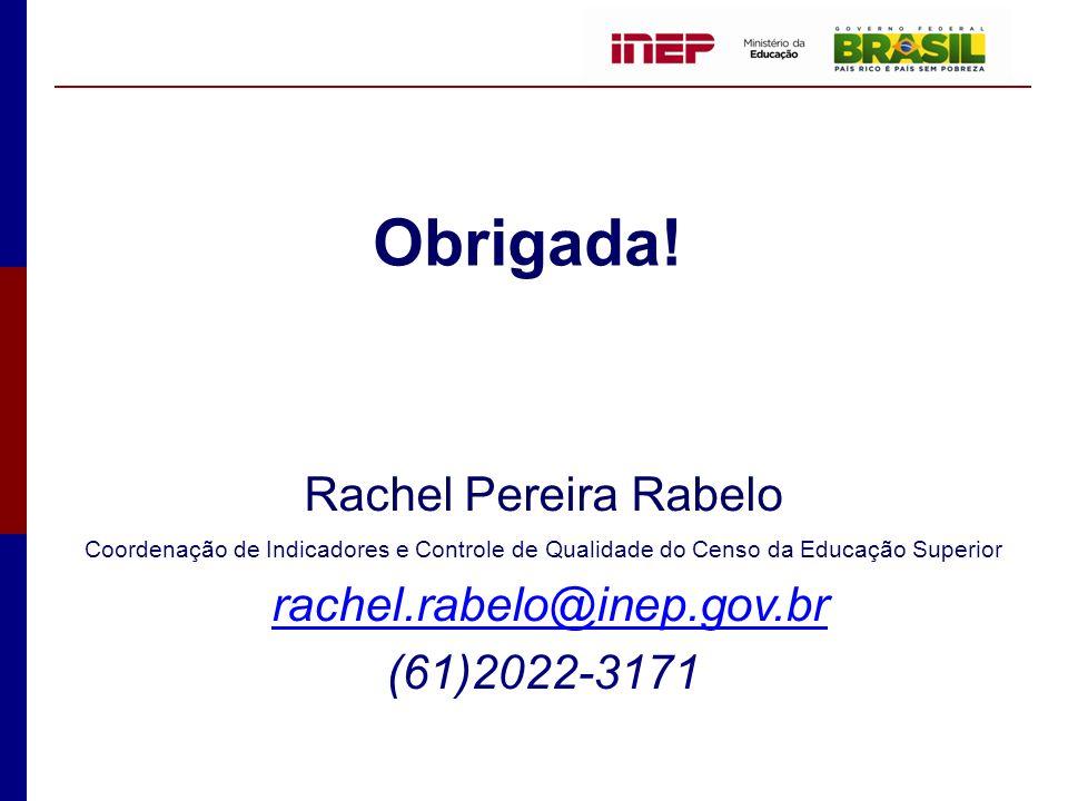 Obrigada! Rachel Pereira Rabelo rachel.rabelo@inep.gov.br