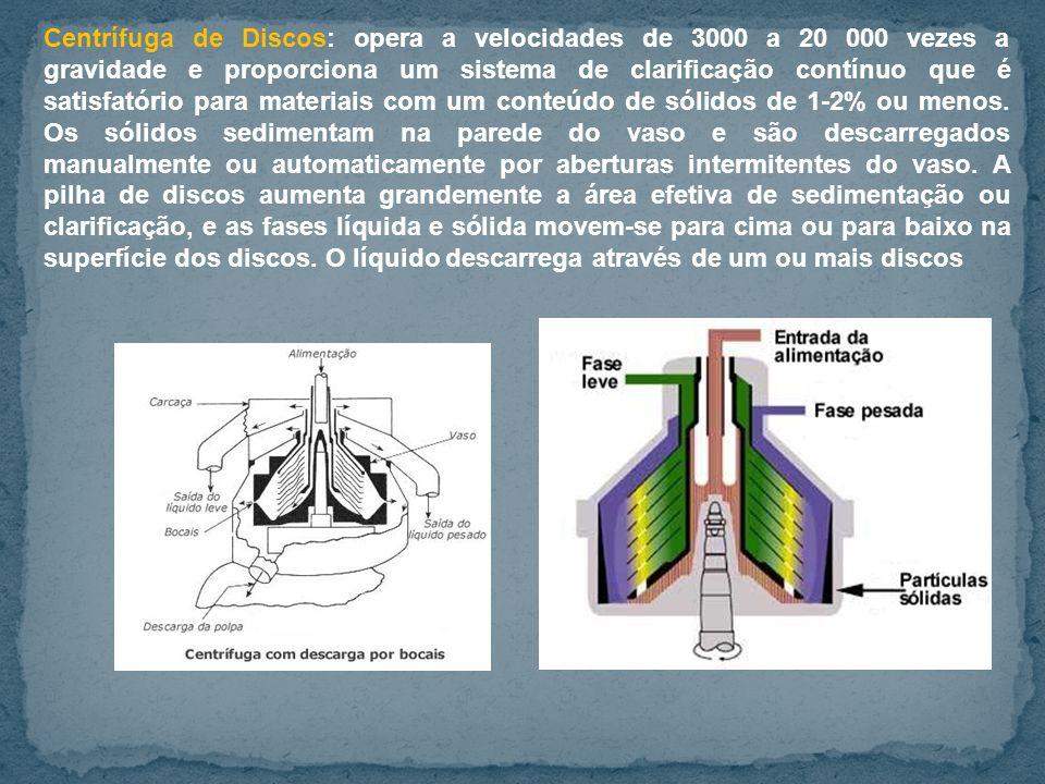 Centrífuga de Discos: opera a velocidades de 3000 a 20 000 vezes a gravidade e proporciona um sistema de clarificação contínuo que é satisfatório para materiais com um conteúdo de sólidos de 1-2% ou menos.