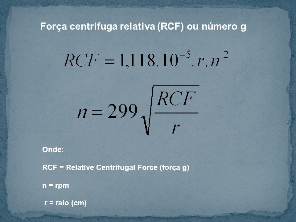 Força centrifuga relativa (RCF) ou número g