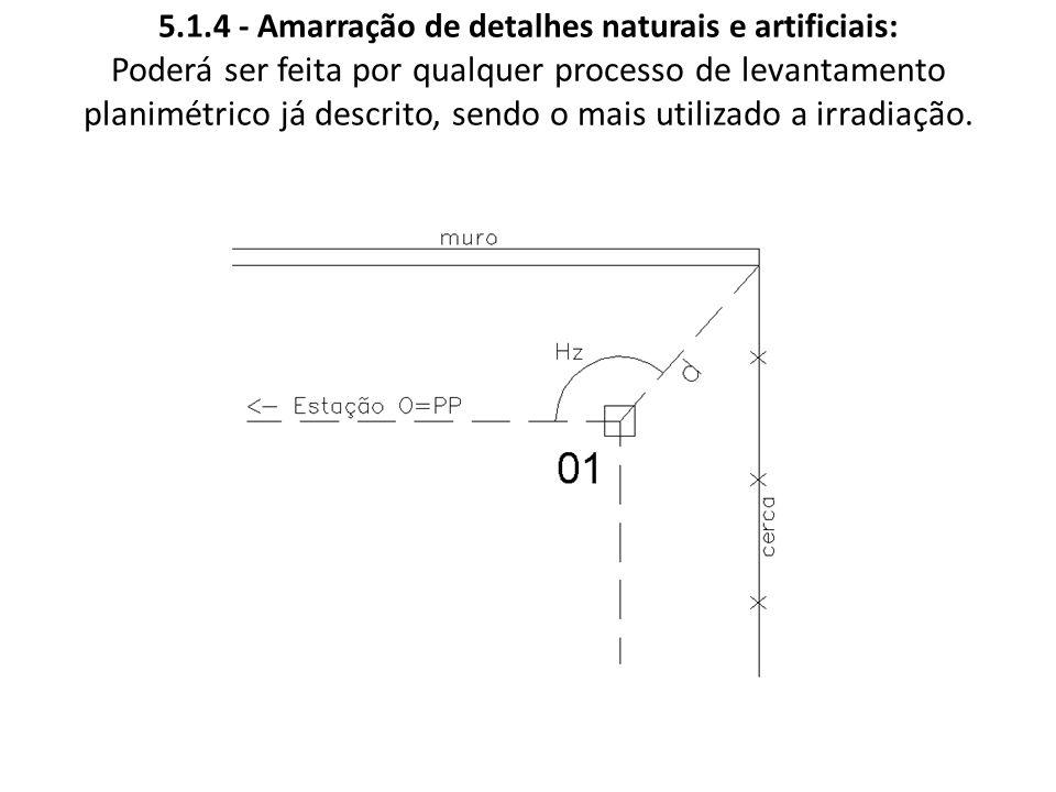 5.1.4 - Amarração de detalhes naturais e artificiais: Poderá ser feita por qualquer processo de levantamento planimétrico já descrito, sendo o mais utilizado a irradiação.