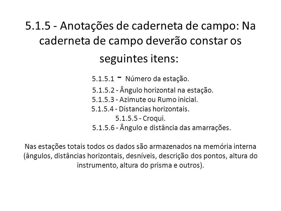 5.1.5 - Anotações de caderneta de campo: Na caderneta de campo deverão constar os seguintes itens: 5.1.5.1 - Número da estação.