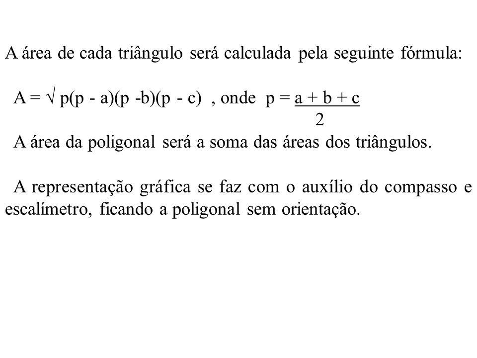 A área de cada triângulo será calculada pela seguinte fórmula: