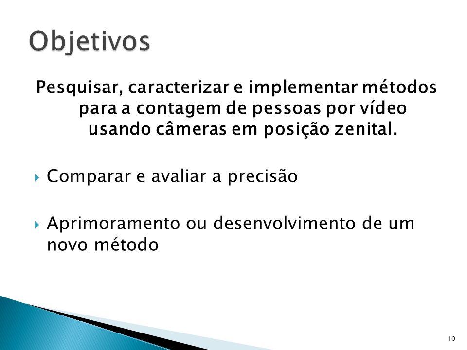 Objetivos Pesquisar, caracterizar e implementar métodos para a contagem de pessoas por vídeo usando câmeras em posição zenital.