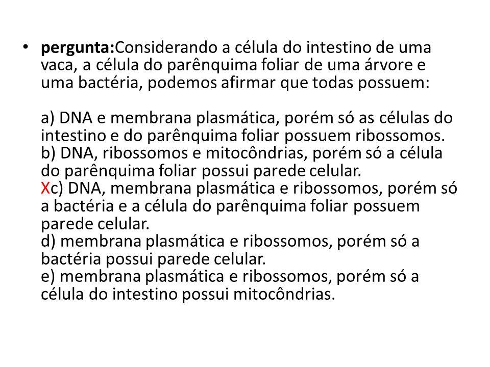 pergunta:Considerando a célula do intestino de uma vaca, a célula do parênquima foliar de uma árvore e uma bactéria, podemos afirmar que todas possuem: a) DNA e membrana plasmática, porém só as células do intestino e do parênquima foliar possuem ribossomos. b) DNA, ribossomos e mitocôndrias, porém só a célula do parênquima foliar possui parede celular. Xc) DNA, membrana plasmática e ribossomos, porém só a bactéria e a célula do parênquima foliar possuem parede celular. d) membrana plasmática e ribossomos, porém só a bactéria possui parede celular. e) membrana plasmática e ribossomos, porém só a célula do intestino possui mitocôndrias.