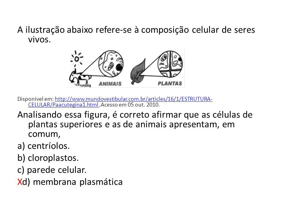 A ilustração abaixo refere-se à composição celular de seres vivos.