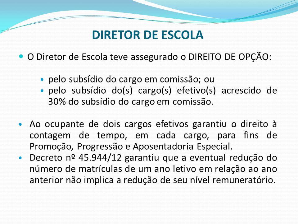 DIRETOR DE ESCOLA O Diretor de Escola teve assegurado o DIREITO DE OPÇÃO: pelo subsídio do cargo em comissão; ou.