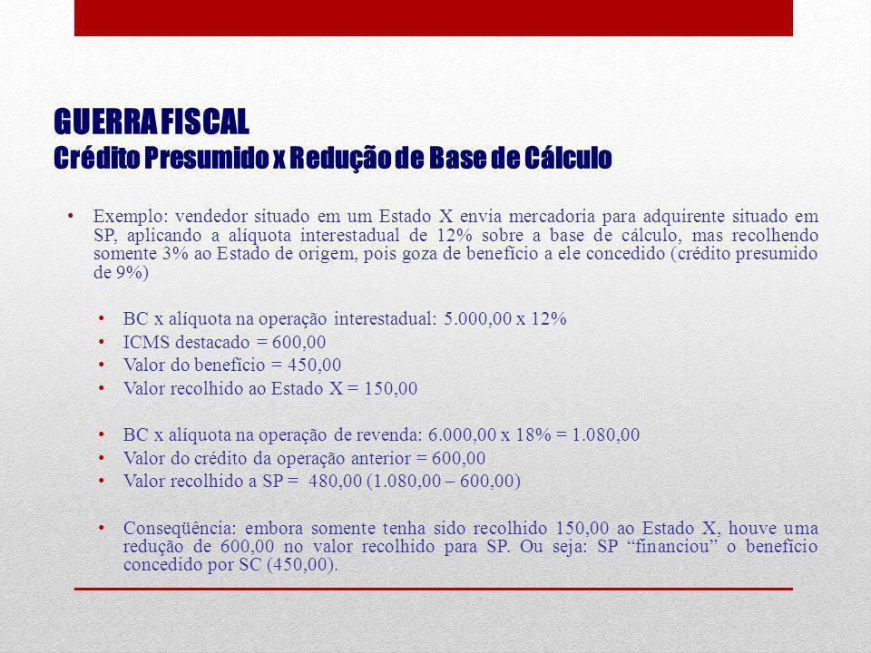 GUERRA FISCAL Crédito Presumido x Redução de Base de Cálculo