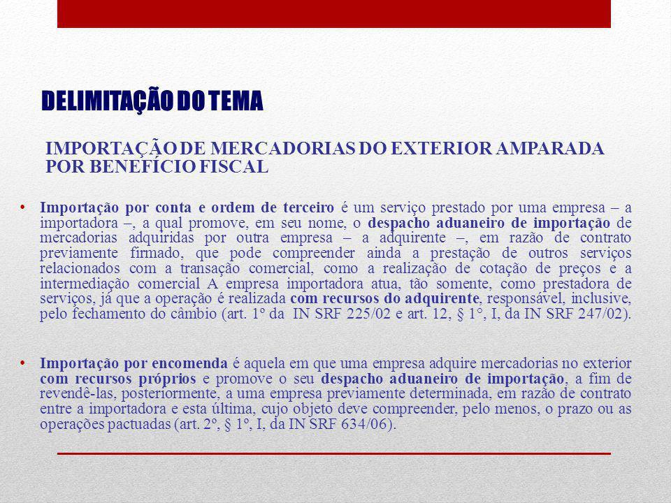 DELIMITAÇÃO DO TEMA IMPORTAÇÃO DE MERCADORIAS DO EXTERIOR AMPARADA POR BENEFÍCIO FISCAL.