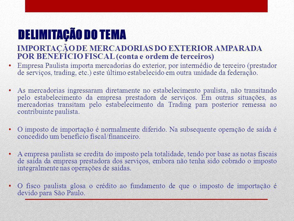 DELIMITAÇÃO DO TEMA IMPORTAÇÃO DE MERCADORIAS DO EXTERIOR AMPARADA POR BENEFÍCIO FISCAL (conta e ordem de terceiros)
