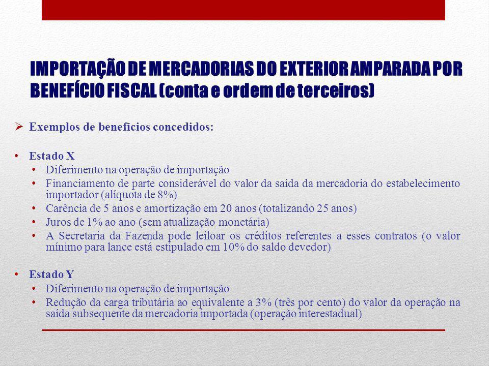 IMPORTAÇÃO DE MERCADORIAS DO EXTERIOR AMPARADA POR BENEFÍCIO FISCAL (conta e ordem de terceiros)