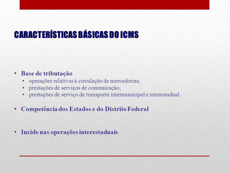 CARACTERÍSTICAS BÁSICAS DO ICMS