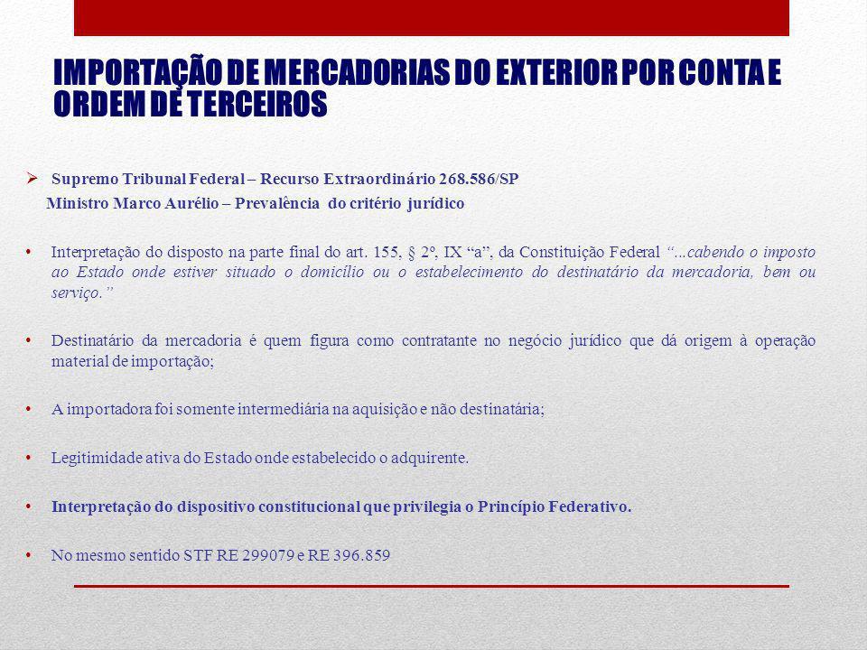IMPORTAÇÃO DE MERCADORIAS DO EXTERIOR POR CONTA E ORDEM DE TERCEIROS