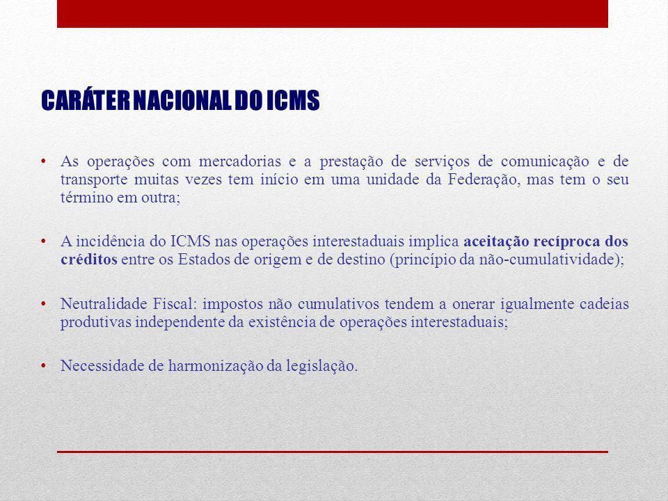 CARÁTER NACIONAL DO ICMS