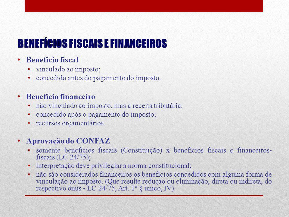 BENEFÍCIOS FISCAIS E FINANCEIROS